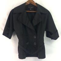 St. John Womens Double Breasted Blazer Jacket Black Belted Cuffed Short Sleeve 4