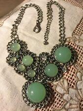 "Grandmas Estate Necklace Faux Jade Jelly Cabachon Rhinestone 18-20"" Silvertone"