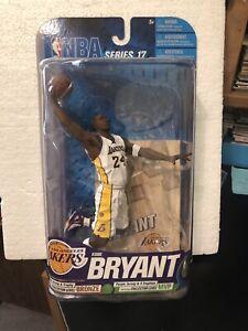 "NBA :KOBE BRYANT 7"" LA LAKERS WHITE UNIFORM, WITH STAND, 2010, MOC"