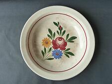 antico piatto in ceramica di Digoin con decorazione fiore arte popolare francese