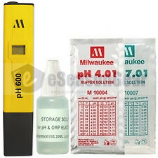 PH600 + 3x20ml Storage pH 4, 7 Solution, Milwaukee Water pH Meter/Tester Combo