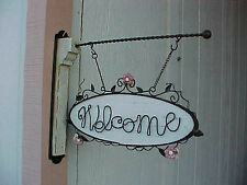 Tenderheart Treasures HANGING WELCOME SIGN Pink Roses for use with bracket