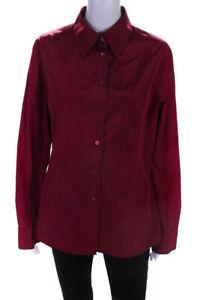 Escada Womens Long Sleeve Button Up Taffeta Blouse Magenta Size EU 40