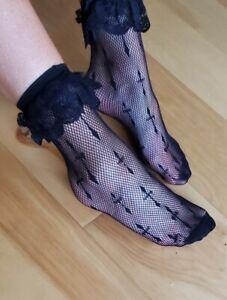 Leg Avenue Cross Net Black Ruffle Anklet Lace Socks SEXY NEW HOSIERY