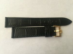 18mm Black Leather Band with Yellow Gold Buckle For Omega Watch