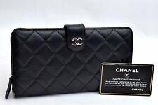 Authentic CHANEL Lamb Skin Matelasse CC Logo Long Wallet Black 99227