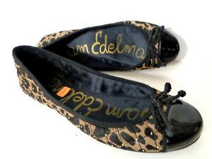SAM EDELMAN Calypso 8.5M Brown Black Leopard Pony & Patent Leather Ballet Flats