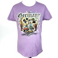Disney Parks Womens Purple Large Germany Epcot Minnie and Mickey Mouse T Shirt