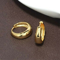 New 14K Yellow Gold Filled Smooth Shiny Wide Round Hoop Earrings Jewelry Gift
