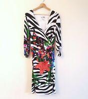 Joseph Ribkoff Size UK 14 Zebra Floral Print Jersey 3/4 Sleeve Ruched Dress