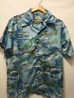 Vintage Waikiki Holiday Polyester Hawaiian Shirt Seagull Print Made in Korea L