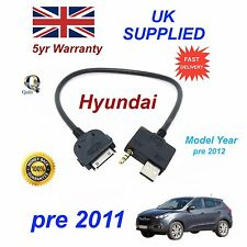 for HYUNDAI I35 iPhone 3gs 4 4s iPod USB & 3.5m AUX Audio Cable Model Year 2012