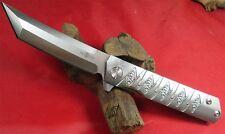 TwoSun Tanto Titanium Handle Ball Bearings Fast Open Pocket Folding Knife TS202