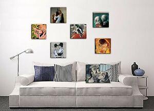 QUADRO BACIO KLIMT  ROY  lichtenstein PICASSO  Hayez  Chagall  MAGRITTE Banksy