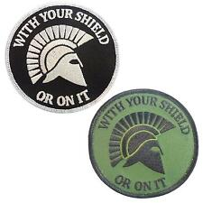 set of 2 morale spartan helmet sew/iron on patches patch seal team WITH YOUR