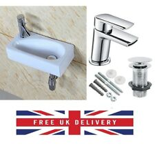 Square Small Mini Cloakroom Bathroom Basin Sink Wall Mounted Left Hand 41x21cm