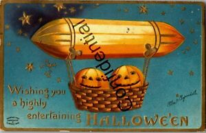Pumpkins In Dirigible Airship Embossed Halloween Signed Clapsaddle Postcard B786
