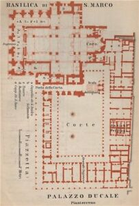 St Mark's BASILICA SAN MARCO. PALAZZO DUCALE Doge's palace plan Venice 1899 map