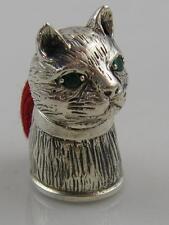 NOVELTY MINIATURE SILVER  CAT PIN CUSHION