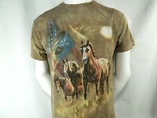 Patriotic Horse Made USA American Flag TAMI ALBA The Mountain Cotton T Shirt M