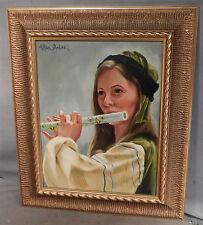 Vintage Oil Painting Portrait Pretty Renaissance Girl Flute Player Allan Dordick