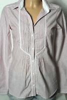 Massimo Dutti Bluse Gr. 36 flieder-weiß gestreift Langarm Bluse/Hemd mit Biesen