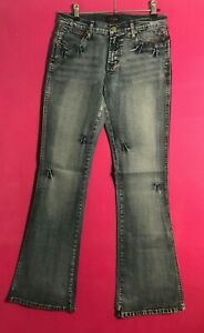 Electric Blue Denim Ladies Stretchy Jeans Women US Sizes 8 - 13 Boot Cut Washed
