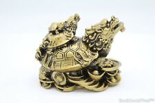 Chinese Bronze 3 Tier Dragon Tortoise On Gold Coins Ingots Feng Shui Decoration