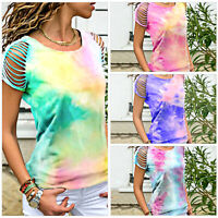 Women Round Neck Short Sleeve Hollow Out Casual Printed Blouse Tops Summer Shirt