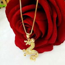 New 24K Gold Dragon Necklace Pendant Originality Chinese Culture Good Luck V