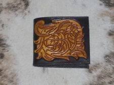 MENS WALLET CUSTOM CARVED CARVED FLORAL TOOLED LEATHER WESTERN RODEO BILLFOLD #1