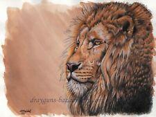 "SFA Original Art 9x12"" Cat Lion Realism Animal Colored Pencil Painting -SMcNeill"
