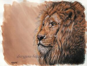 "SFA Original Art 9x12"" Cat Lion Realism Animal Colored Pencil Painting -SMcNeill"