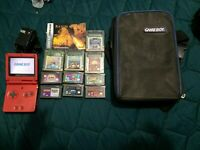 Gameboy Advance SP Red AGS-001 Lot Of 10 Games Charger and case game boy gba