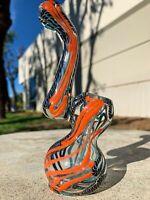 """Hookah Water Pipe 6"""" Blue/Orange Swirl Bubbler Tobacco Bong w/ Carb Hole"""