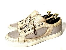 Zilli Beige&Gray Python Leather + Canvas Shoes Sneakers Size 41, UK-7, US-8