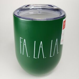 "Rae Dunn • Wine • Tumbler Mug • GREEN • 12oz. • FA LA LA - ""NEW"""
