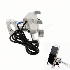Motorcycle Bike Cell Phone GPS Handlebar Mount Holder USB Charger Aluminum