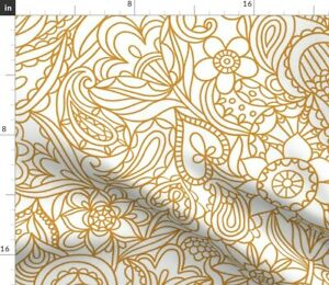 Neutral Paisley Pattern Doodle Abstract Ornament Spoonflower Fabric by the Yard