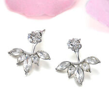 Fashion Flower Summer Crystal Front and Back Ear Jacket Stud Earring Jewelry CAS