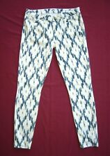 Paige Verdugo Ultra Skinny Jeans Alexandria Blue White Ikat Print Jeans Size 32