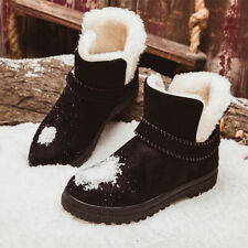 Womens Ladies Winter Snow Ankle Boots Army Combat Flat Grip Sole Fur Lined Shoes