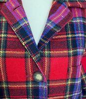 Susan Bristol Women's Jacket/Blazer Sm Wool Blend Scottish Plaid Button Collar