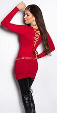 Sexy Longpullover Pulli Pullover mit Schnürung am Rücken Rot 34 36 38