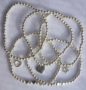 SET OF 5 HANDMADE SILVER PLATED STACKING STRETCH BRACELETS HEARTS & STARS (138)