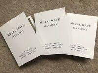 "x3 ALL SAINTS ""METAL WAVE"" EAU DE PARFUM PERFUME SPRAY SAMPLES 1.5ML NEW & TAGS"