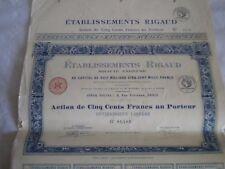 Vintage share certificate Stocks Bonds Etablissements Rigaud 1924