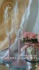 Swarovski Crystal Personalized Wedding Champagne Toast Glass Flute Blush Sparkle