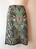 Marc Cain Straight Style / Stretch animal print skirt sz 10 Virgin Wool/ Cotton