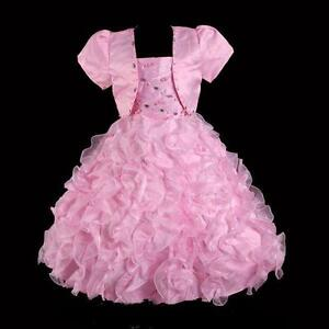 Girl Child Kid Party Formal Pageant Flower Birthday Wedding Dress PINK SIZE 5 6